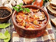 Рецепта Гъбена супа с лук, морков, домати, ориз и магданоз